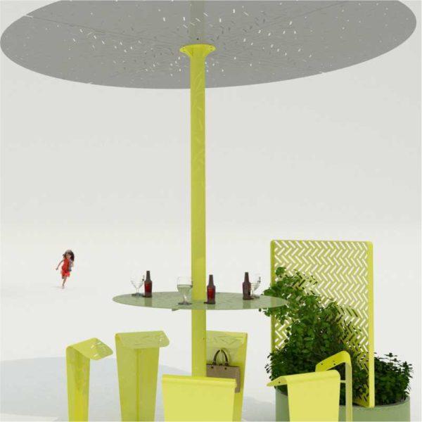 table-métallique-ronde