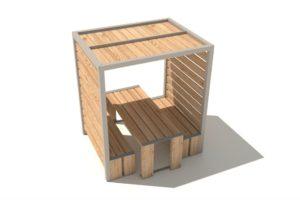 table en bois abritée