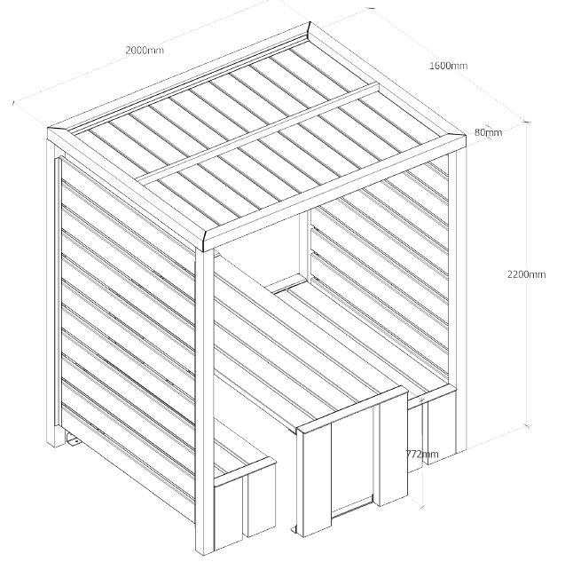 table abritée en bois