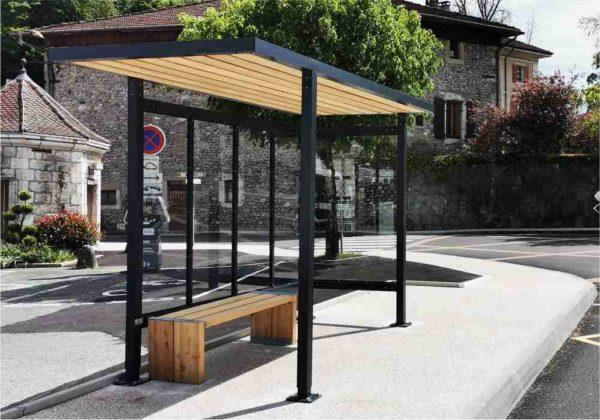 abri bus en bois et aluminium
